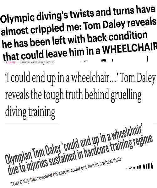 tom daley wheelchair omg the sun daily