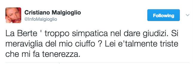 malgioglio tweet loredana berte litigata