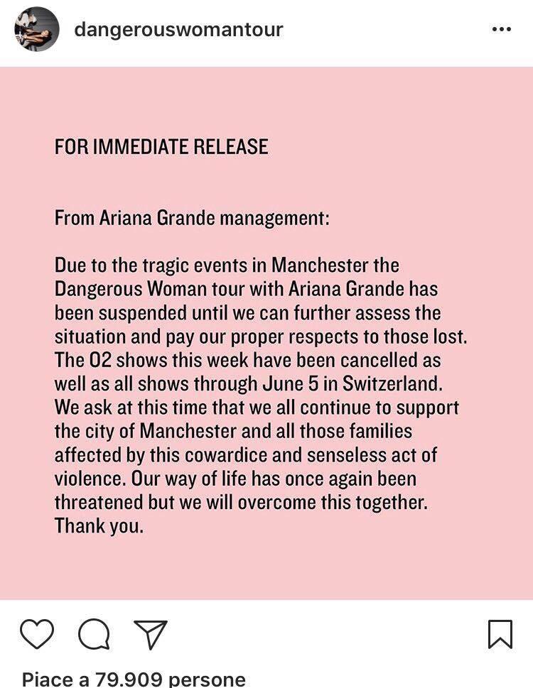 Dangerous Woman Tour Ariana Grande cancella le date (2)